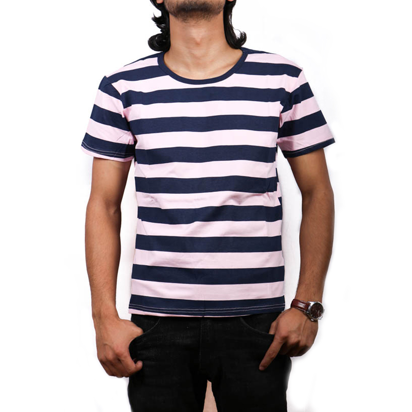 Blue-White Stripped Cotton  Printed T-Shirt For Men
