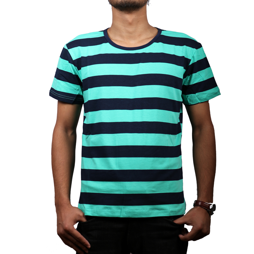 Blue-Green Striped Round Neck T-Shirt For Men