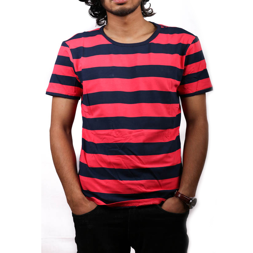 Blue-Red Striped Round Neck T-Shirt For Men