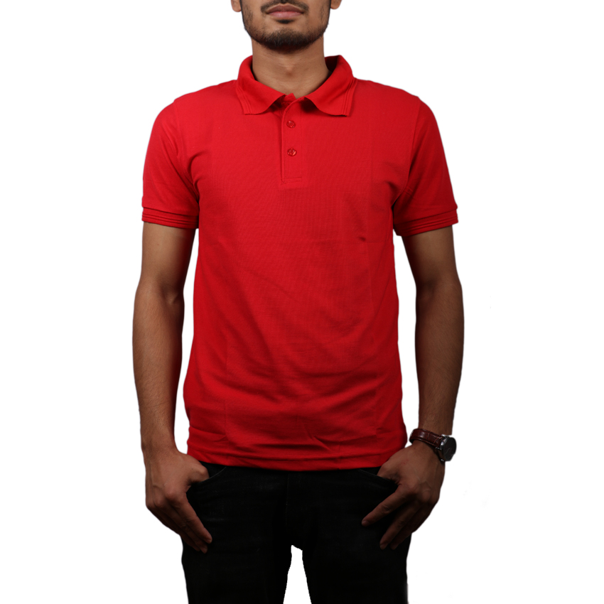 Red Solid Polo Neck 100% Cotton T-Shirt For Men