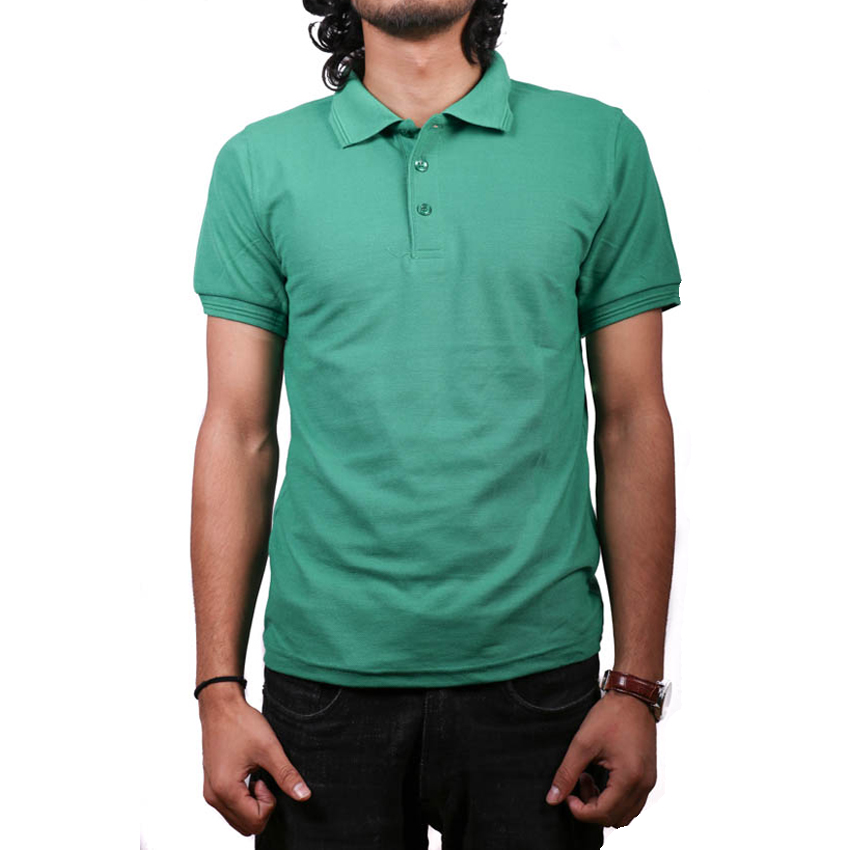 Green Solid Polo Neck 100% Cotton T-Shirt For Men