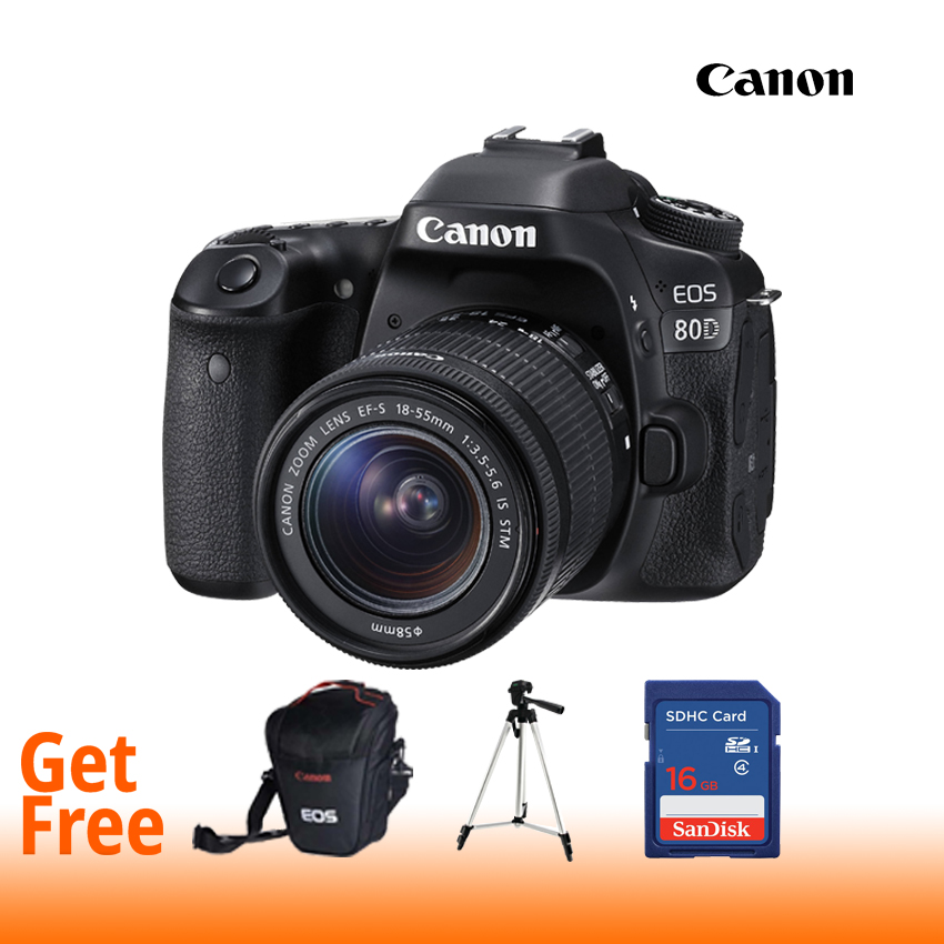 Cannon EOS 80D Digital SLR Camera Body With Single Lens : 18-135 IS USM (16 GB SD Card + Bagpack + Tripod) - Black