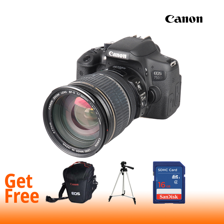 Canon EOS 750D Digital SLR Camera with 18-55mm IS STM (16 GB SD Card + Bag + Tripod)- Black