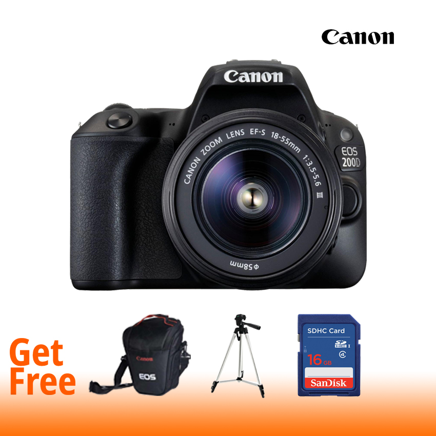 Canon EOS 200D 24.2MP Digital SLR Camera With EF-S18-55 IS STM (16 GB Card + Bagpack + Tripod)- Black