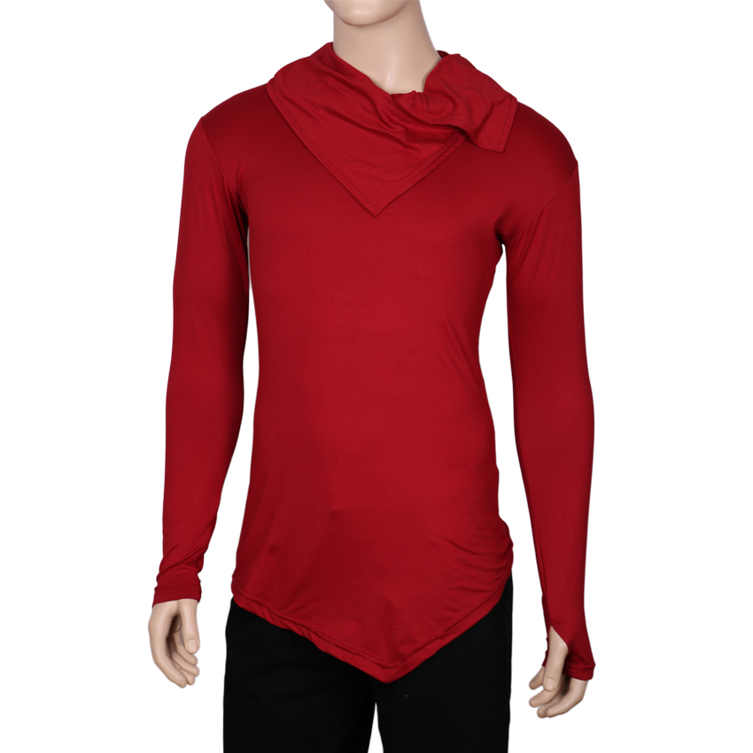 Men's Collar Cardigan Lightweight Cotton Blend Long sleeves T-shirt With Thumb Insert-Red