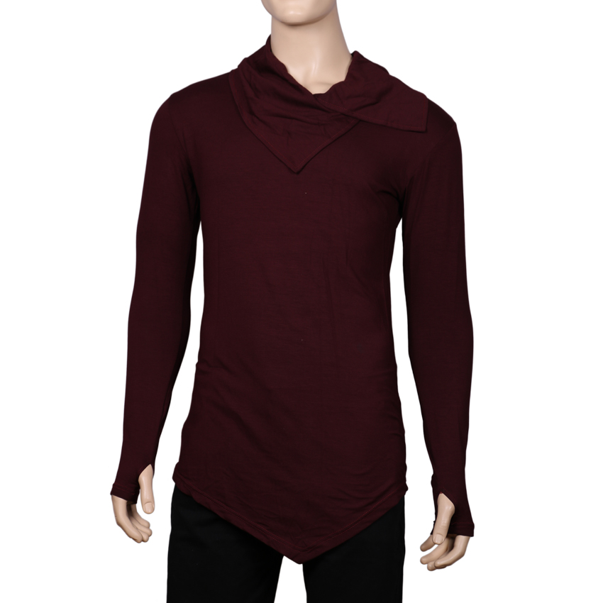 Men's Collar Cardigan Lightweight Cotton Blend Long sleeves T-shirt With Thumb Insert-(Maroon)