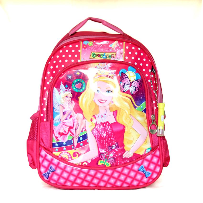 Disney princess cartoon printed pink girls school kids bag.