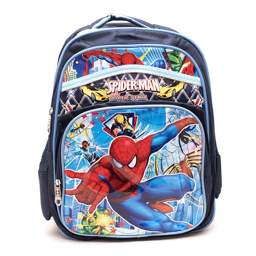 Spiderman Cartoon Printed  Kids School Bag  - Blue