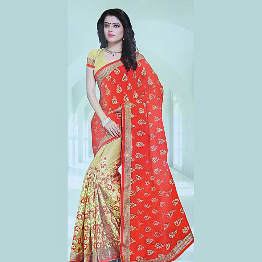 Red/Cream Two Toned Printed Saree With Blouse For Women - 1006