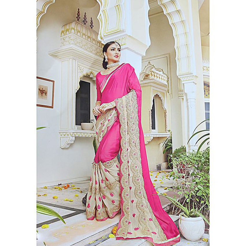 Pink/Cream Floral Embroidered Saree With Blouse For Women - 11003