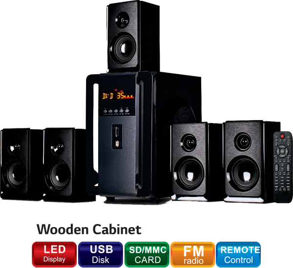 A5931 5.1 Bluetooth, Remote With Display Multimedia Speaker