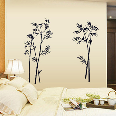 black bamboo single color leaves tree branch wall stickers-raramart