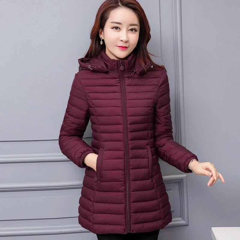 Red Down Long Jacket For Women