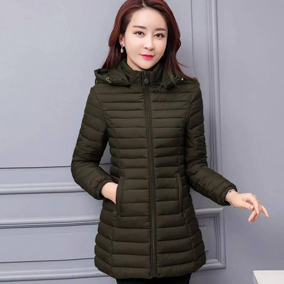 Green Long Down Jacket For Women