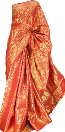 RED BANARASI SILK SAREE/UNSTITCHED BLOUSE FOR WOMEN