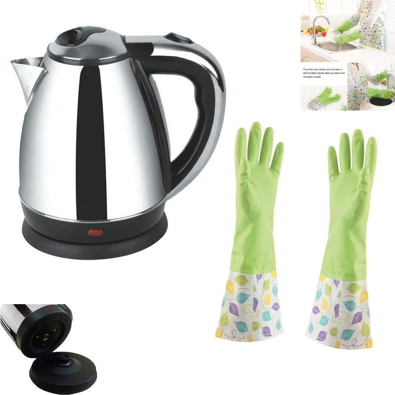Combo Pack Of Electric Kettle - 2 Liter And Waterproof Kitchen Dish Washing Gloves