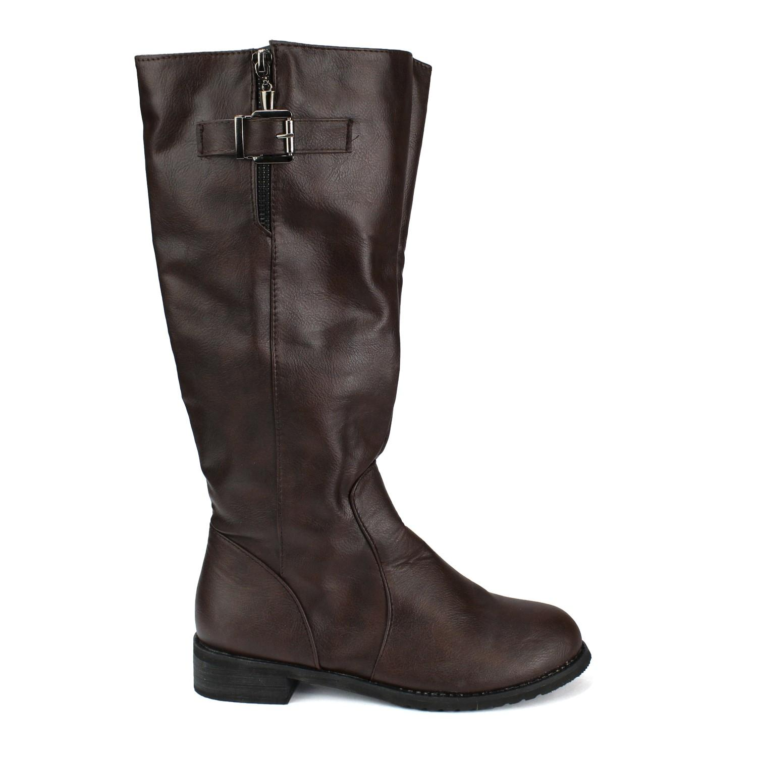 Brown Solid Long Boot For Women