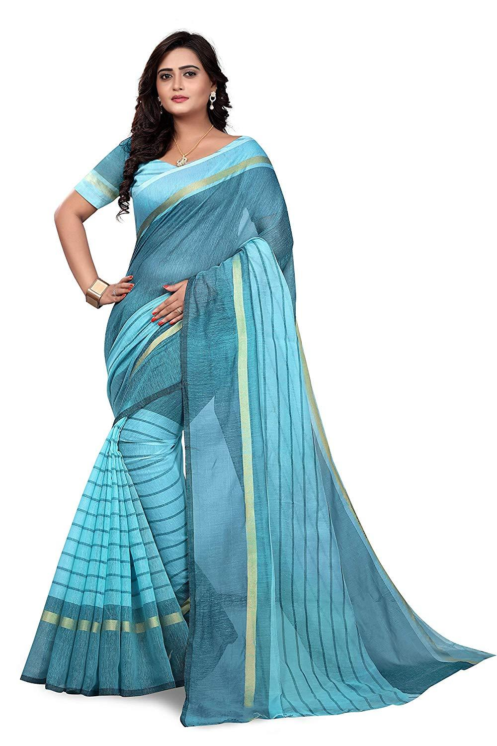Cotton Silk Saree With Blouse (Dhoti) Blue Colour