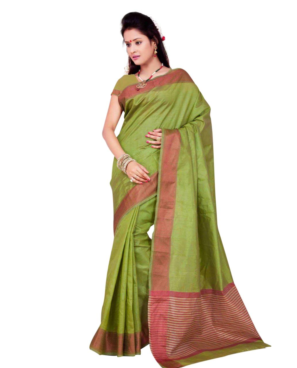 Green Plain Bordered Saree With Blouse Piece For Women