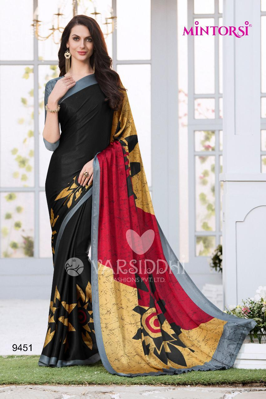 Black Designer Printed Satin & Silk Saree With Blouse For Women