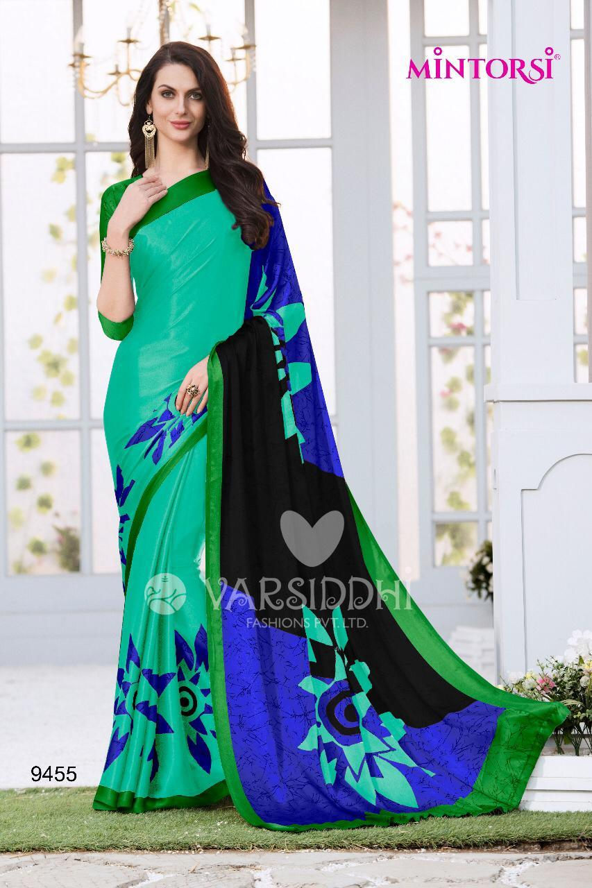 Turquoise Blue Designer Satin & Silk Saree With Blouse For Women