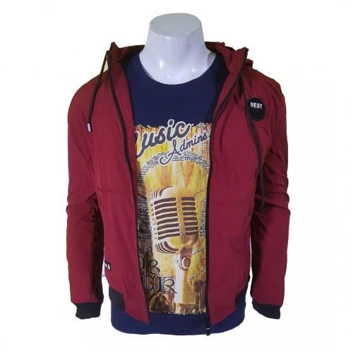 Maroon Slim Fit Seasonal Inside Fleece Double Layered Jacket For Men