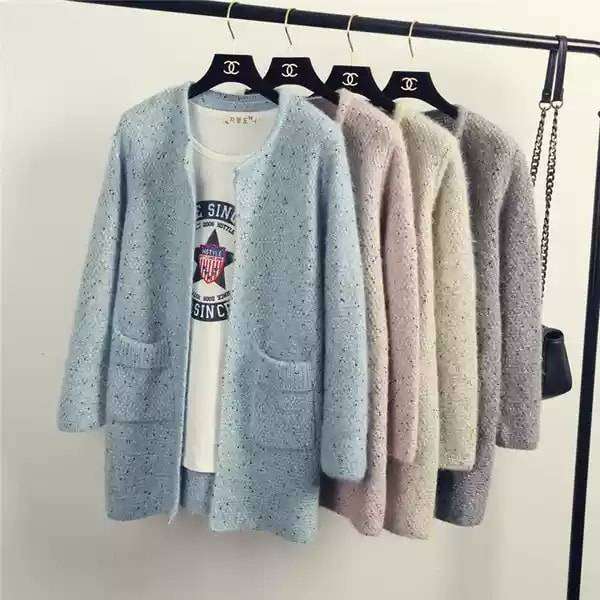 furred Long Sleeve Round Neck front opening  warm wear  multi-color outer type  Sweater for women