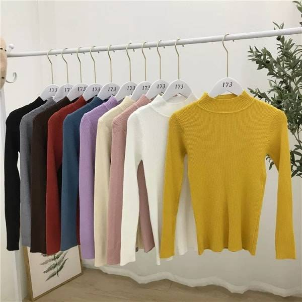 High neck Long Sleeve Round Neck fitting warm wear  multi-color  Sweater for women