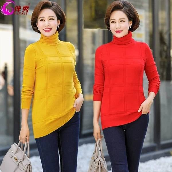 High neck long Long Sleeve Round Neck fitting warm wear  multi-color  Sweater for women
