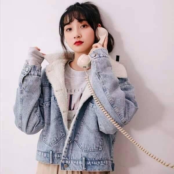 Furred denim jacket for women