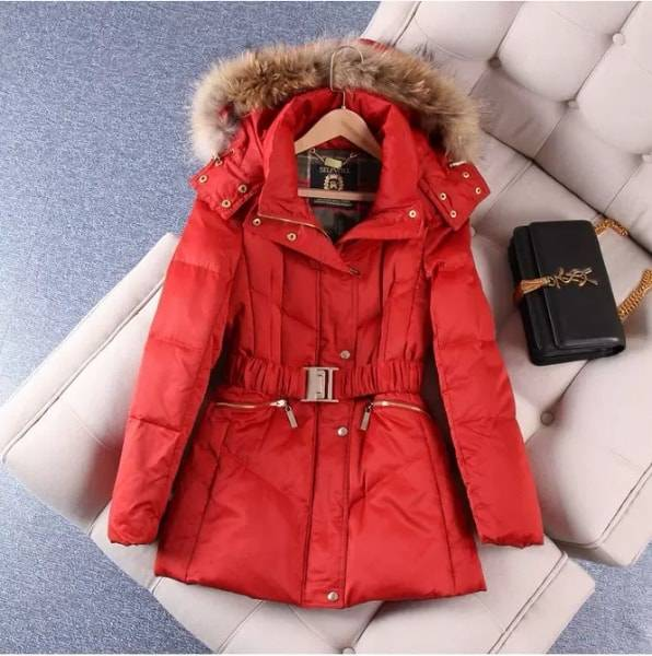 Winter jacket for women   with fur inside and furred hood