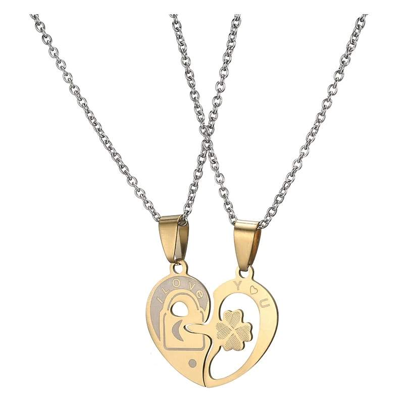 Dual Tone Love Heart Lock Couple Necklace MR050P