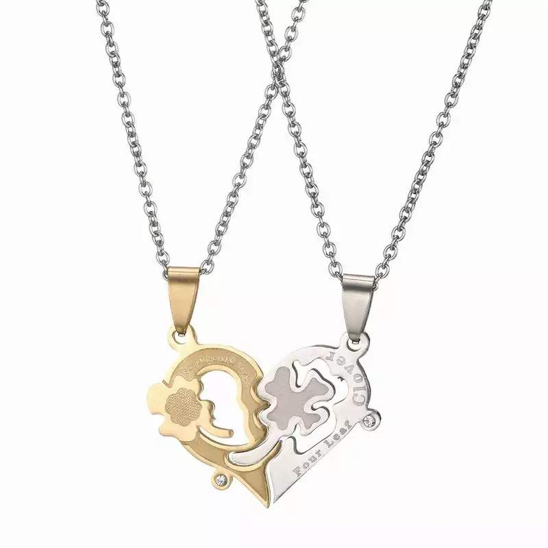 Dual Tone Lucky Clover Heart Couple Necklace MR049P