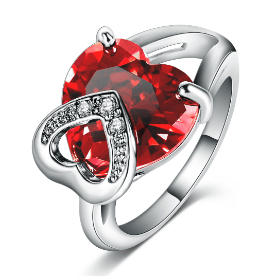 Platinum Plated Double Heart Simulated Ruby Cocktail Ring MR002R