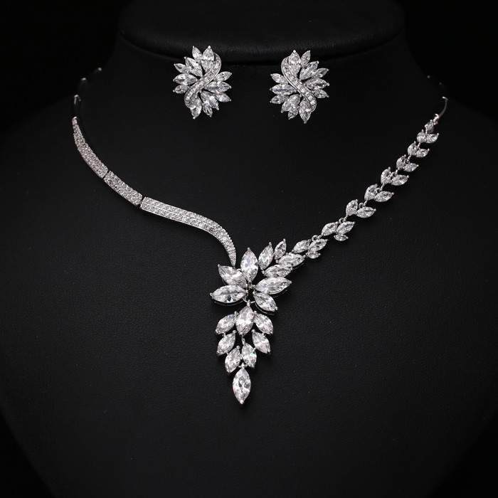 Platinum Plated Marquise Cut CZ Jewelry Set MR002JS