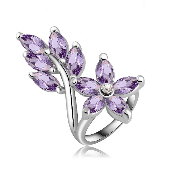 Classic Violet Marquise Cut Cz Leaf Platinum Plated Ring MR001R