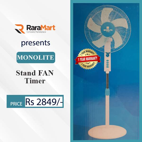 """MonoLite Stand Fan 16"""" With Timer 100% Copper Motor"""
