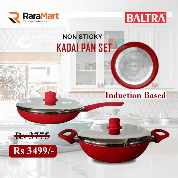 Baltra Induction Base Deep Kadhai 26 CM & 24 CM Frying Pan Combo Offer