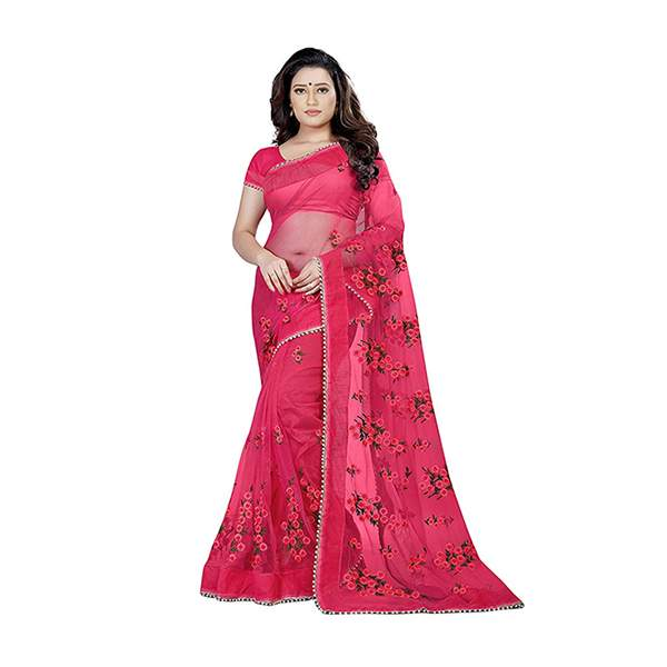 Red Floral Embroidered Saree With Blouse Piece For Women