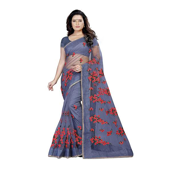 Grey Floral Embroidered Saree With Blouse Piece For Women