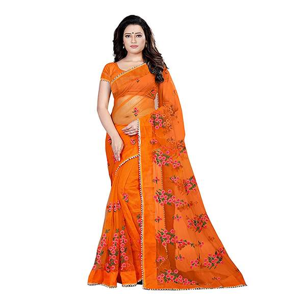 Orange Floral Embroidered Saree With Blouse Piece For Women