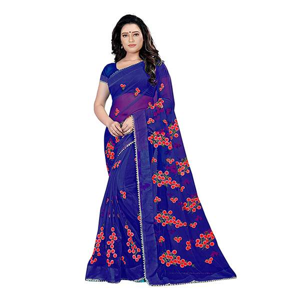 Blue Floral Embroidered Saree With Blouse Piece For Women