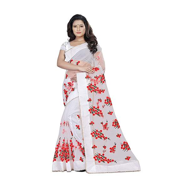 White Floral Embroidered Saree With Blouse Piece For Women