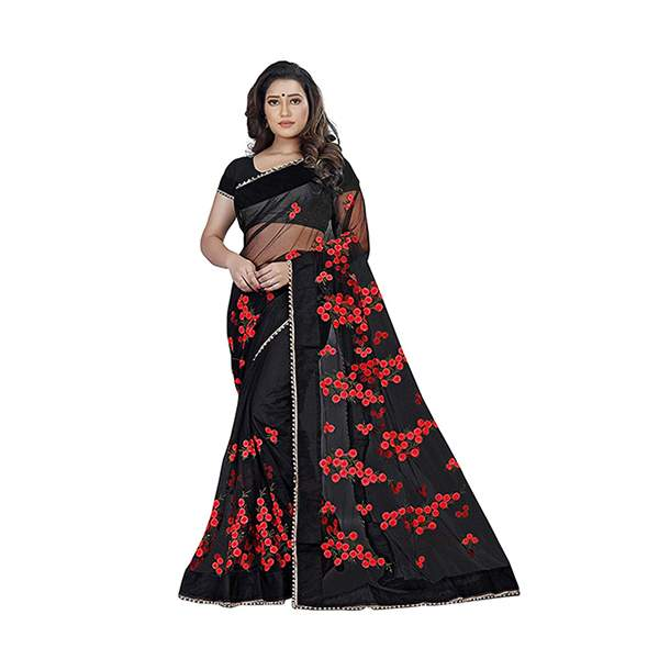 Black Floral Embroidered Saree With Blouse Piece For Women