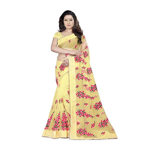 Yellow Floral Embroidered Saree With Blouse Piece For Women