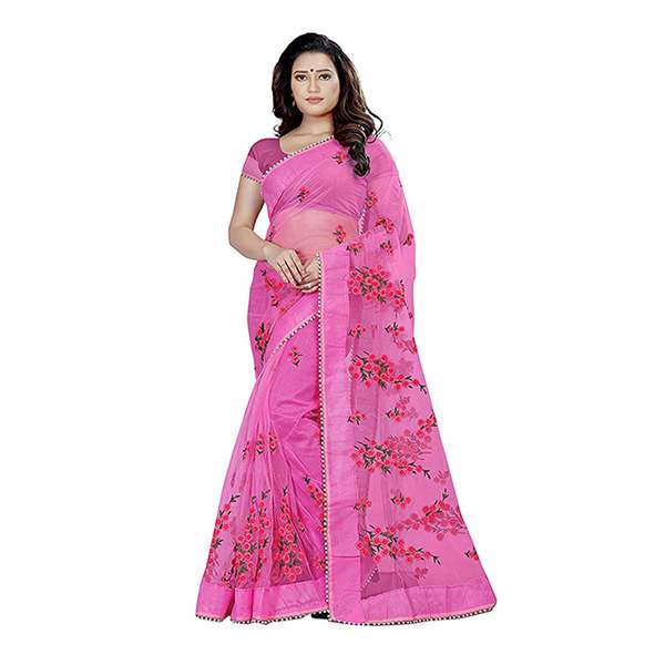 Pink Floral Embroidered Saree With Blouse Piece For Women