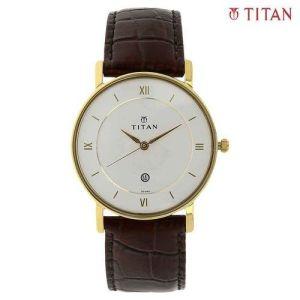 Titan 9162YL01 White Dial Leather Strap Analog Watch For Men- Brown