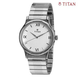 Titan 1580SM01 Karishma Silver Dial Analog Watch For Men