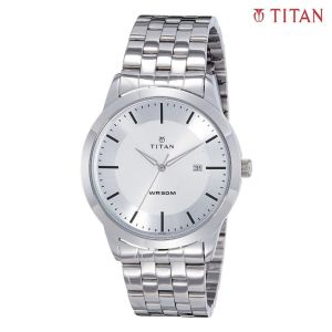 1584SM03 White Dial Round Analog Watch For Men- Silver