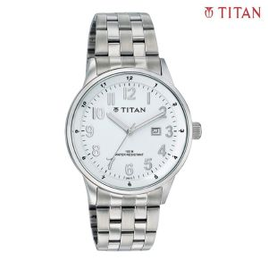 9441SM01 White Dial Analog Watch For Men- Silver